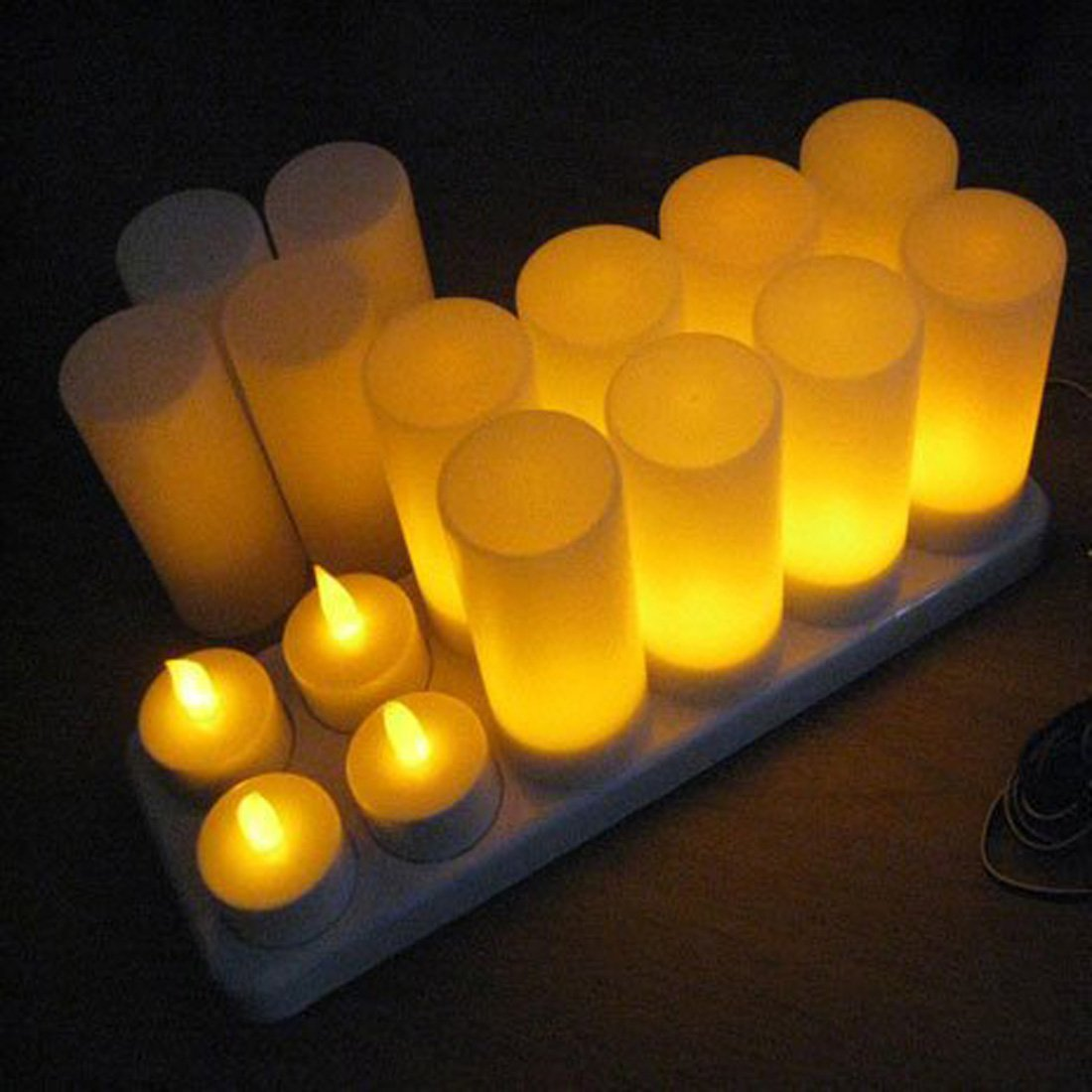 Winterworm Rechargeable Flameless Yellow Flickering Tea Light Candle with Frosted Holder for Xmas Party Wedding Festival Holiday Party Decoration Supplies (Set of 12, With Remote Control) by Winterworm (Image #1)