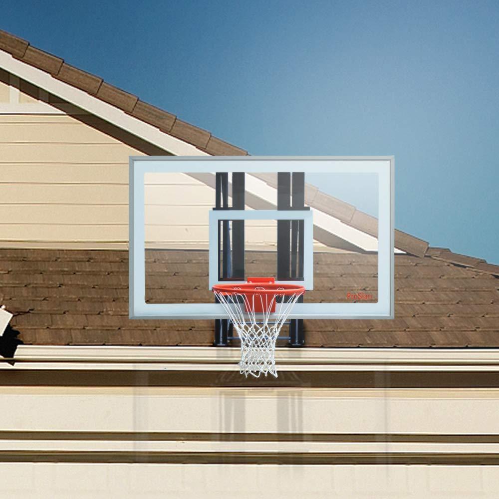 Pro Slam ガレージ ルーフ マウント バスケットボール フープシステム 48/60インチ クリア バックボード 耐久性 スチールブラケット 高耐久 ブレイクアウェイリム コンボ 大半の傾斜ルーフにフィット シルバー 60 inch backboard