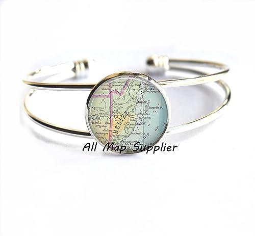 Amazon.com: Encantadora Pulsera, pulsera de mapa de Belice ...