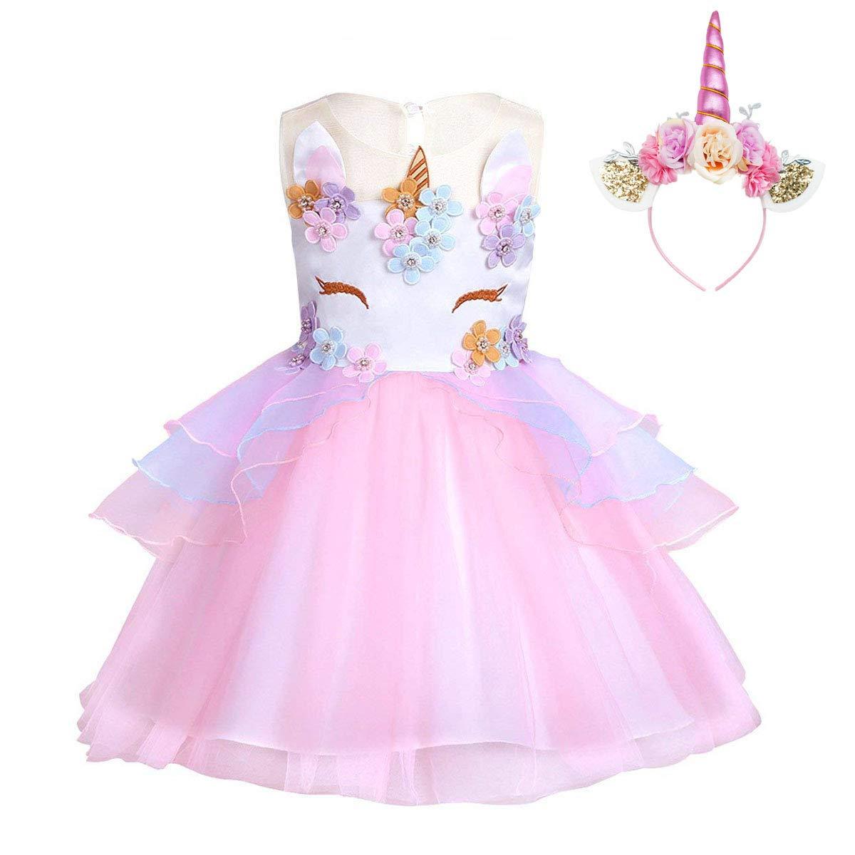 805a22250 FONLAM Vestido de Fiesta Princesa Niña Bebé Disfraz de Unicornio Ceremonia  Cumpleaños Vestido Infantil Flores Carnaval
