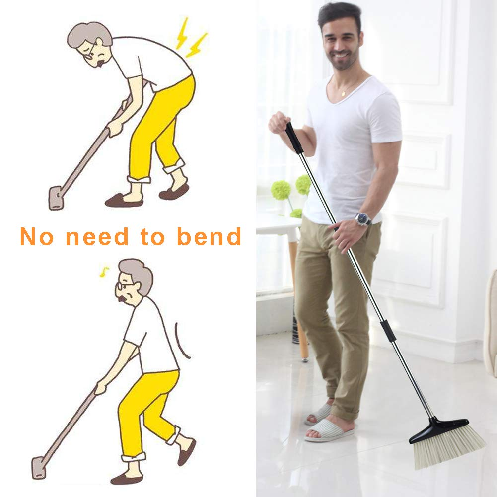 HomTrip Broom and Dustpan Set, Upright Dust Pan and Broom with 51'' Extendable Long Handle for Home Kitchen Room Lobby Office Floor Clean by HomTrip (Image #7)