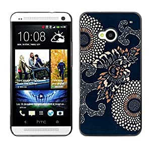 MOBMART Carcasa Funda Case Cover Armor Shell PARA HTC One M7 - Traditional Blue Floral Pattern
