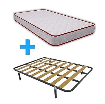 Somier Con Patas De Madera.Duermete Cama Completa Colchon Vale Reversible Somier Basic Con 4