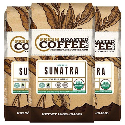 Fresh Ground (Organic Sumatra Fair Trade Coffee, 12 oz. Ground Bags, Fresh Roasted Coffee LLC. (3 Pack))
