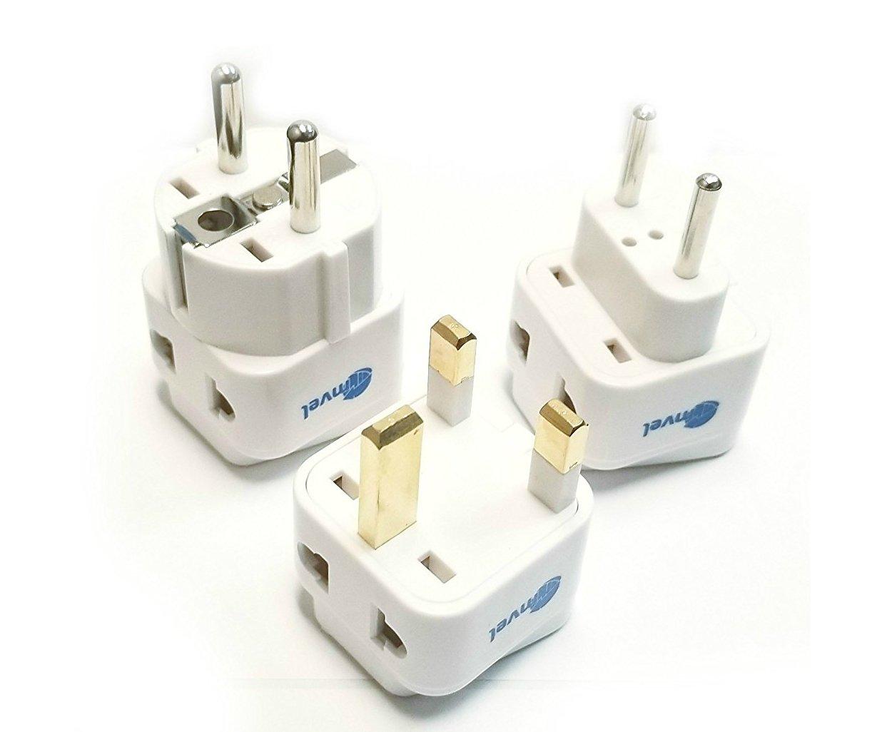 Euro Travel Plug Adapter Set - European, Finland, UK, Turkey, Spain, Saudi Arabia, Russia, Hong Kong, Italy and More