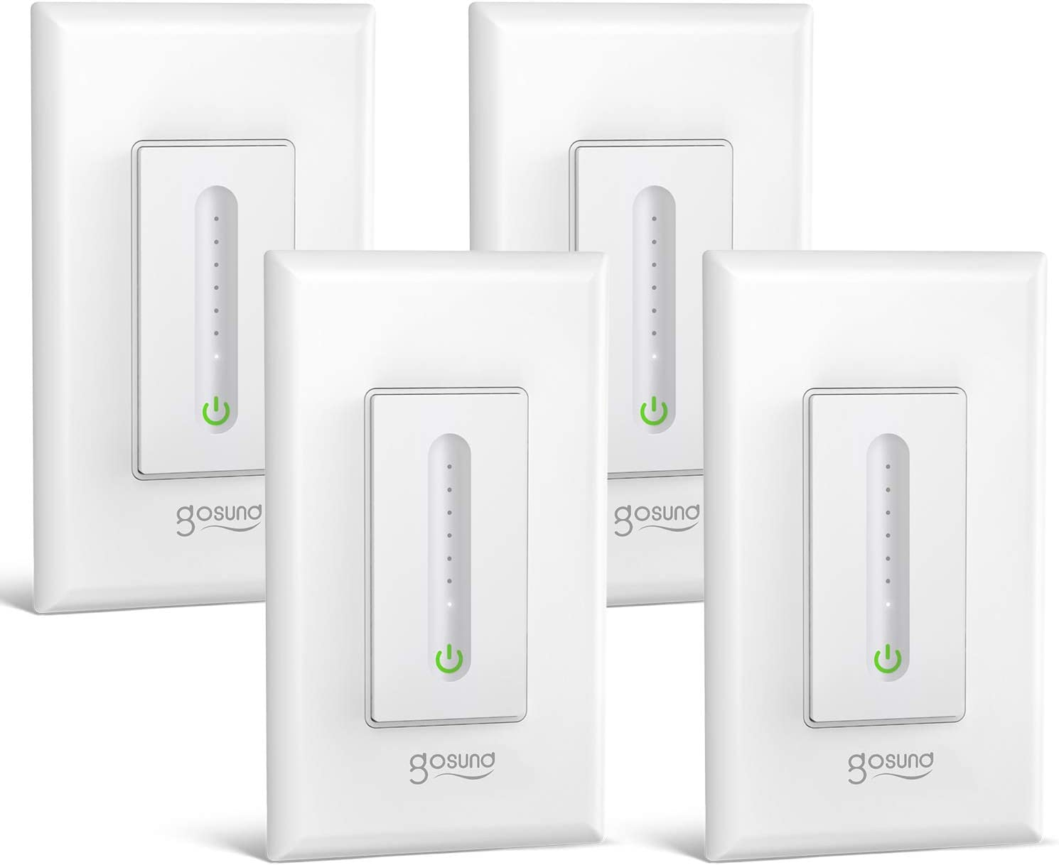 Gosund Smart Dimmer Switch, Wifi Wall Light Switch Compatible with Alexa and Google Home, 4 Pack, Single-Pole, Remote Control, No Hub Required, ETL and FCC Listed