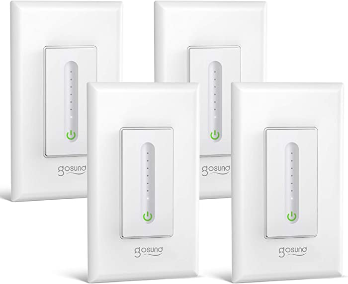 Gosund Smart Dimmer Switch, Wifi Wall Light Switch Compatible with Alexa and Google Home, 4 Pack,Single-Pole, Remote Control,No Hub Required, ETL and FCC Listed