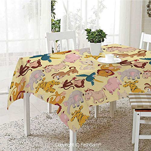 Party Decorations Tablecloth Cartoon Animals Jungle Themed Design Monkey Pig Tiger Elephant Lion Horse Sparrow Decorative Resistant Table Toppers (W60 -