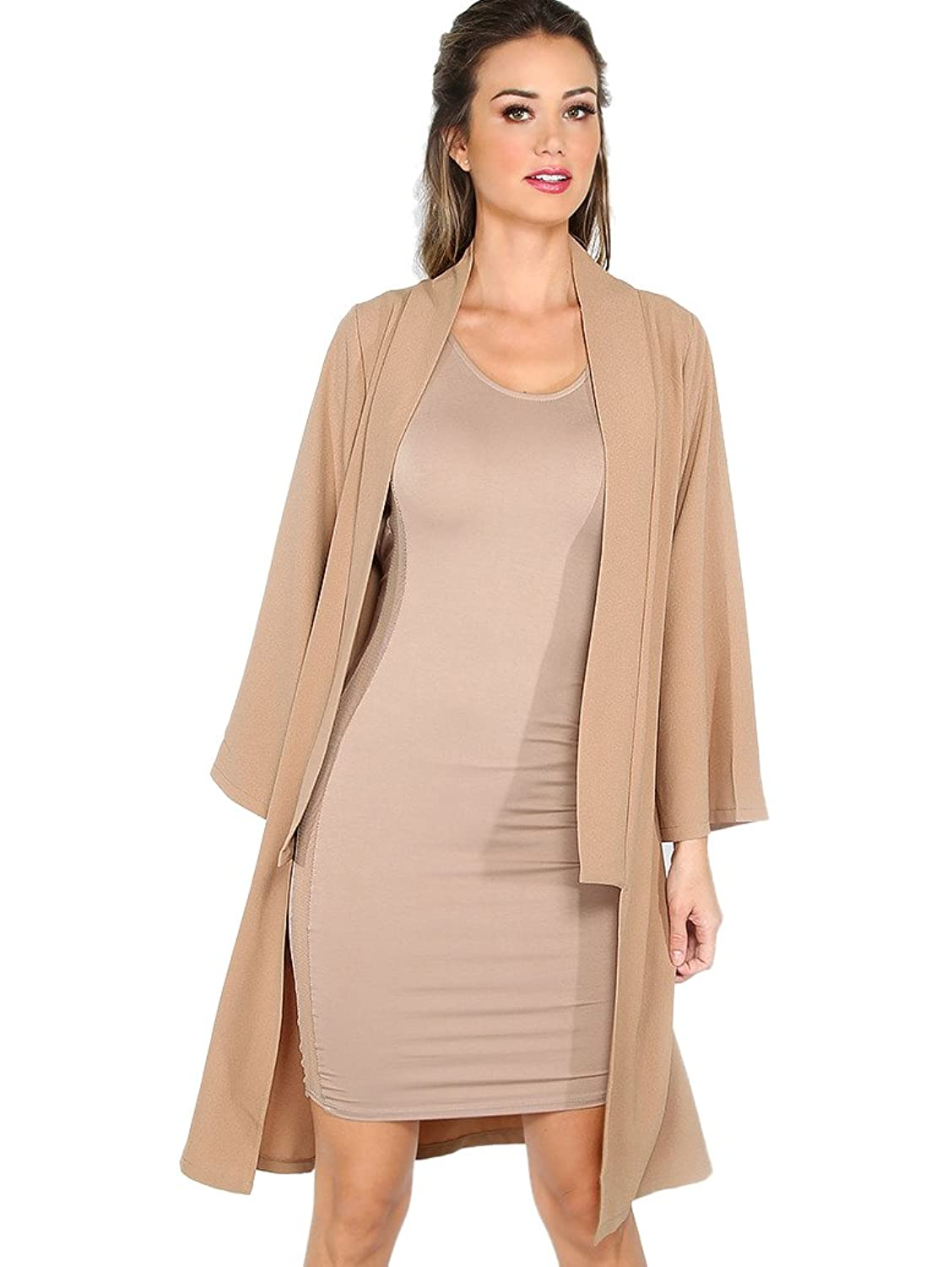 MakeMeChic Women's Solid Long Sleeve Duster Coat Open Front Cardigan
