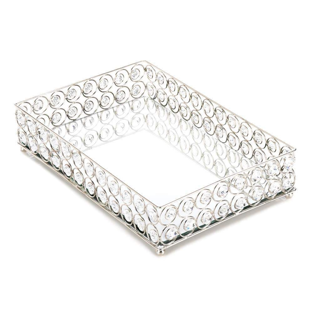 Anya Nana Silver Prism Crystal Diamond gem Square Plate Mirrored Vanity Tray Great Gift