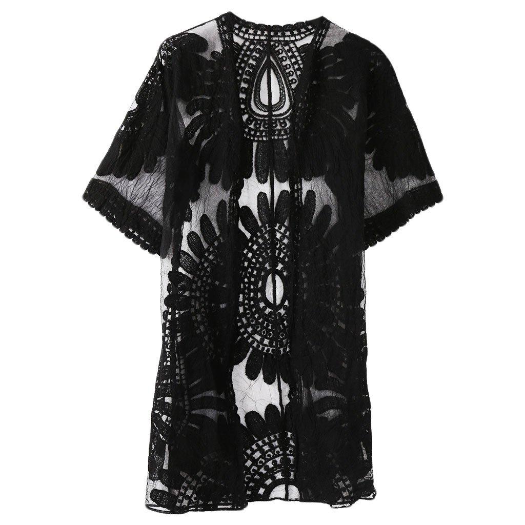 XIAO-WU Beach Cover Up Floral Embroidery Bikini Swimwear Women Robe Cardigan Bathingsuit - Black by XIAO-WU