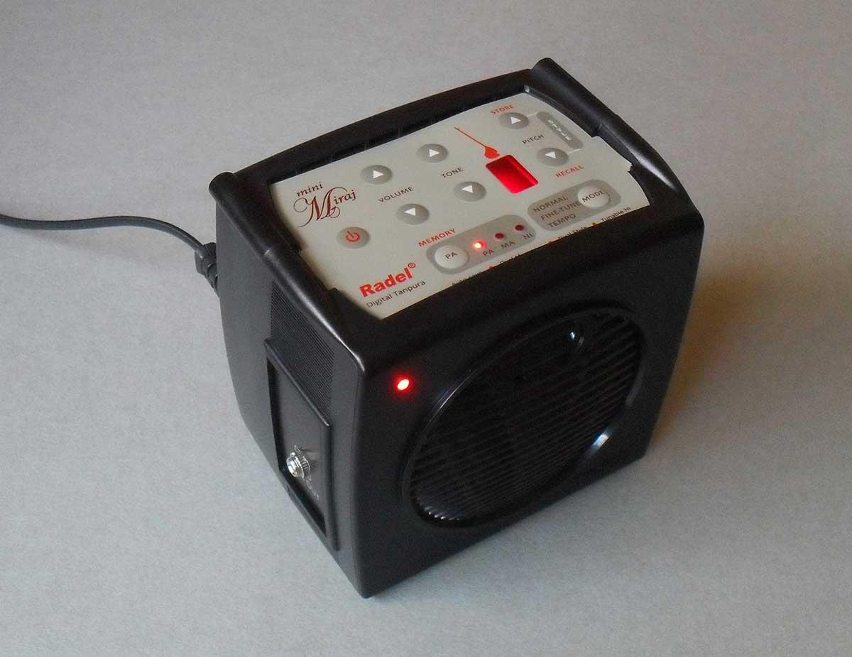 The Radel Mini Miraj digital tanpura is a compact version of the Miraj Plus tanpura radel