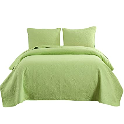 Bedspreads For Queen Size Bed.Vitale Quilts Queen Size Lime Green Bedspreads Set Microfiber Reversible Lightweight Coverlets Set Paisley Bed Blanket