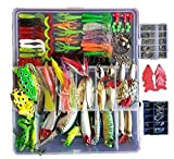 Fishinghappy 275Pcs Fishing Lure Set Kit Soft and Hard Lure Baits Tackle Set Bionic Bass Trout Salmon Minnow Popper Crank Rattlin Pencil Plastic Topwater Frogs Lure Metal Lures Spinner