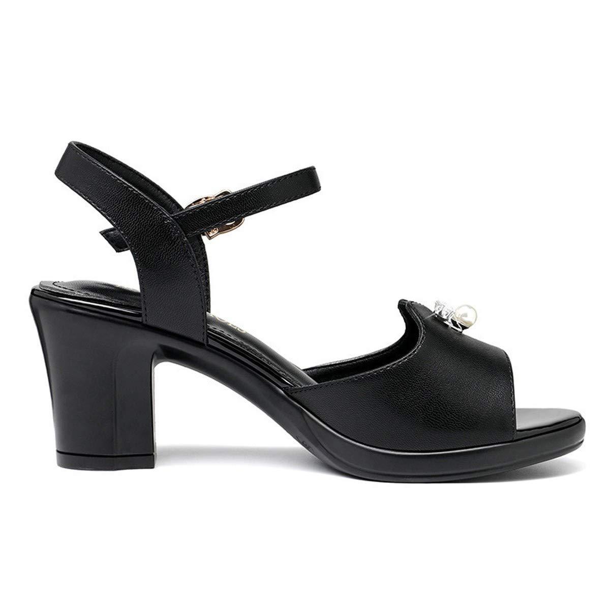 SFSYDDY Chaussures Populaires Bouton des Chaussures 7Cm Sandales Nouveau Style La Mode Les Talons Haut Et épaisse Forty noir