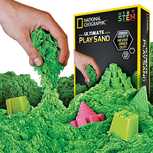 NATIONAL GEOGRAPHIC Play Sand - 2 LBS of Sand with Castle Molds and Tray (Green) - A Kinetic Sensory Activity
