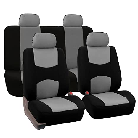 FH Group Universal Fit Full Set Flat Cloth Fabric Car Seat Cover Gray