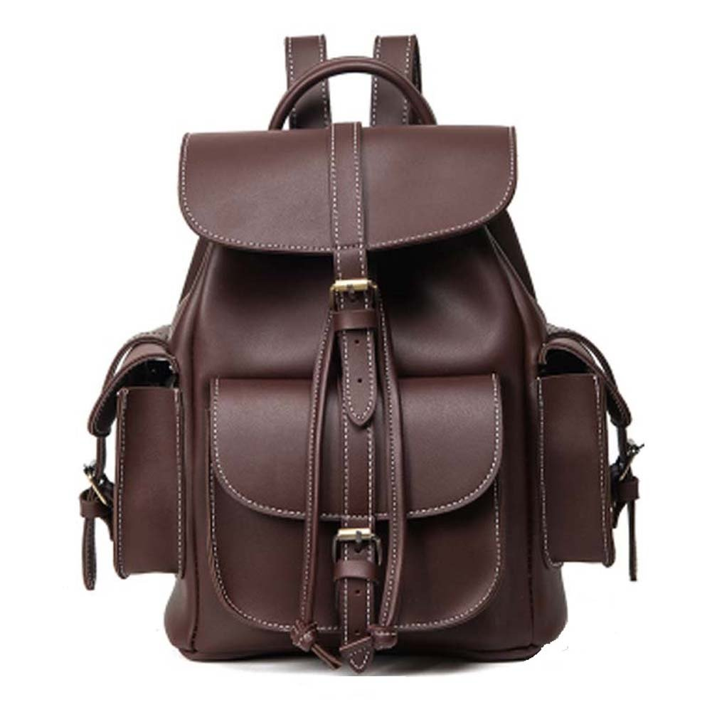 Women Backpack Purse PU Leather Vintage Drawstring Casual Daypack Girl Schoolbag (Brown)