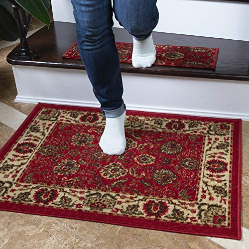 "Ottomanson Ottohome Collection Traditional Persian Oriental Floral Design Non-Slip Rubber Backing Modern Area Rug Doormat, 2'3"" X 3', Red"