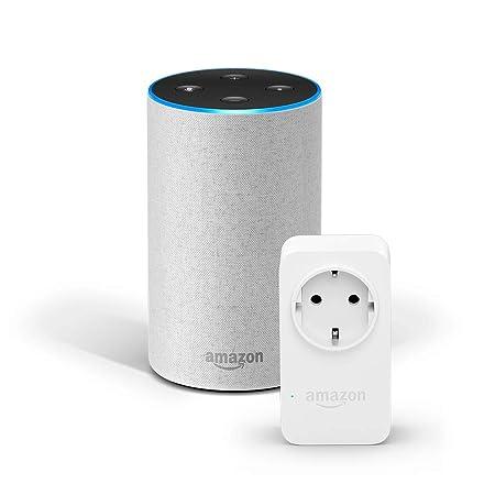Amazon Echo (2. Gen.), Sandstein Stoff + Amazon Smart Plug (WLAN-Steckdose), Funktionert mit Alexa