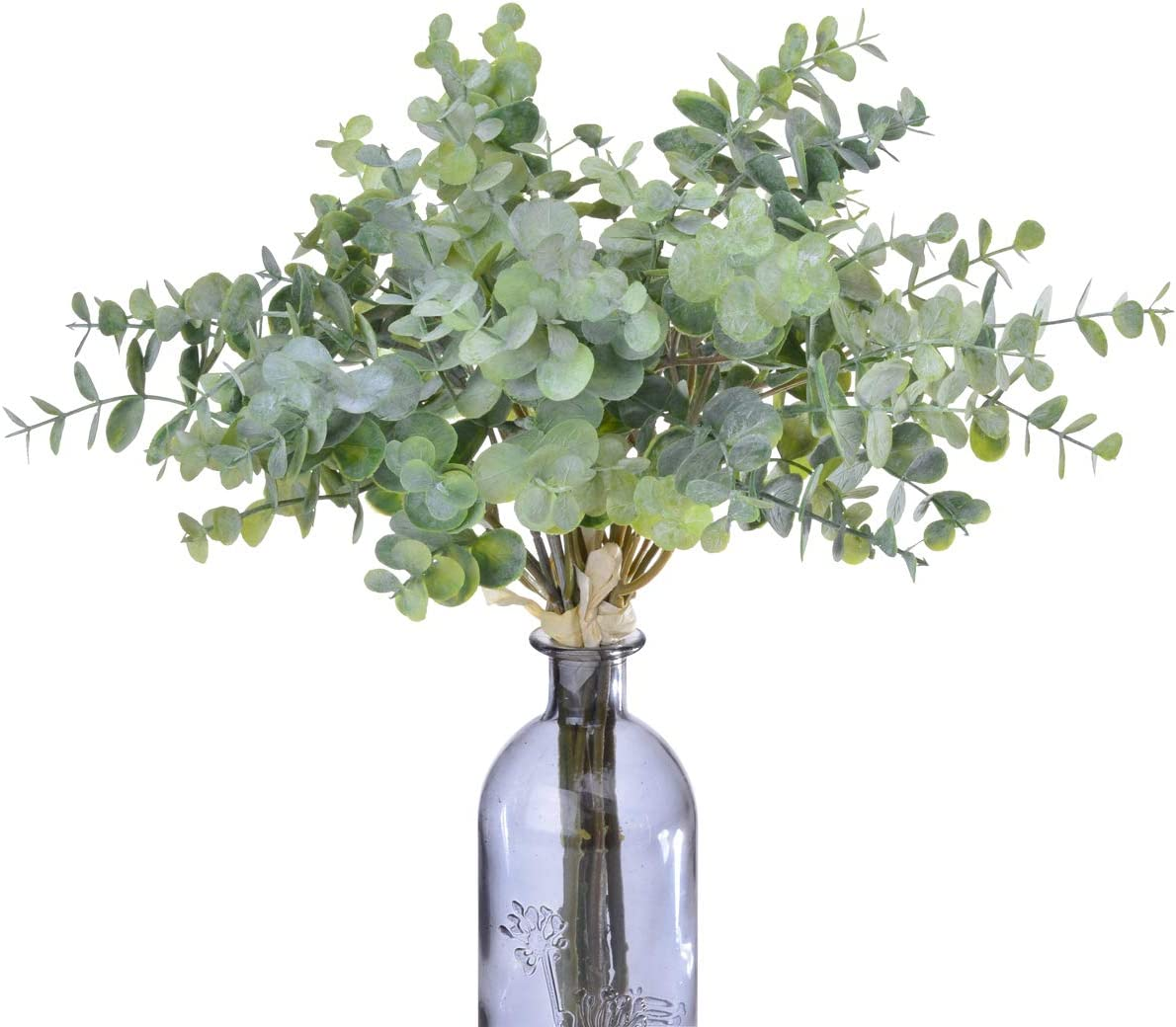 Anna Homey Decor Artificial Eucalyptus Leaves Stems Bulk Fake Vine Greenery Leaves Plants Artificial Silver Dollar Eucalyptus Plant for Holiday Wedding DIY Garden Office Decor,2PCS Arificial Flowers