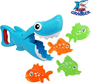 Bath Toys, Cute Shark Grabber Bathroom Toy, Great White Shark with Teeth Biting Action for Kids