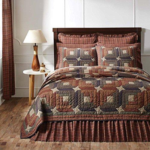 4pc Parker Patchwork Stars Country King-Size Quilt Set-Shams-Burlap Toss Pillow