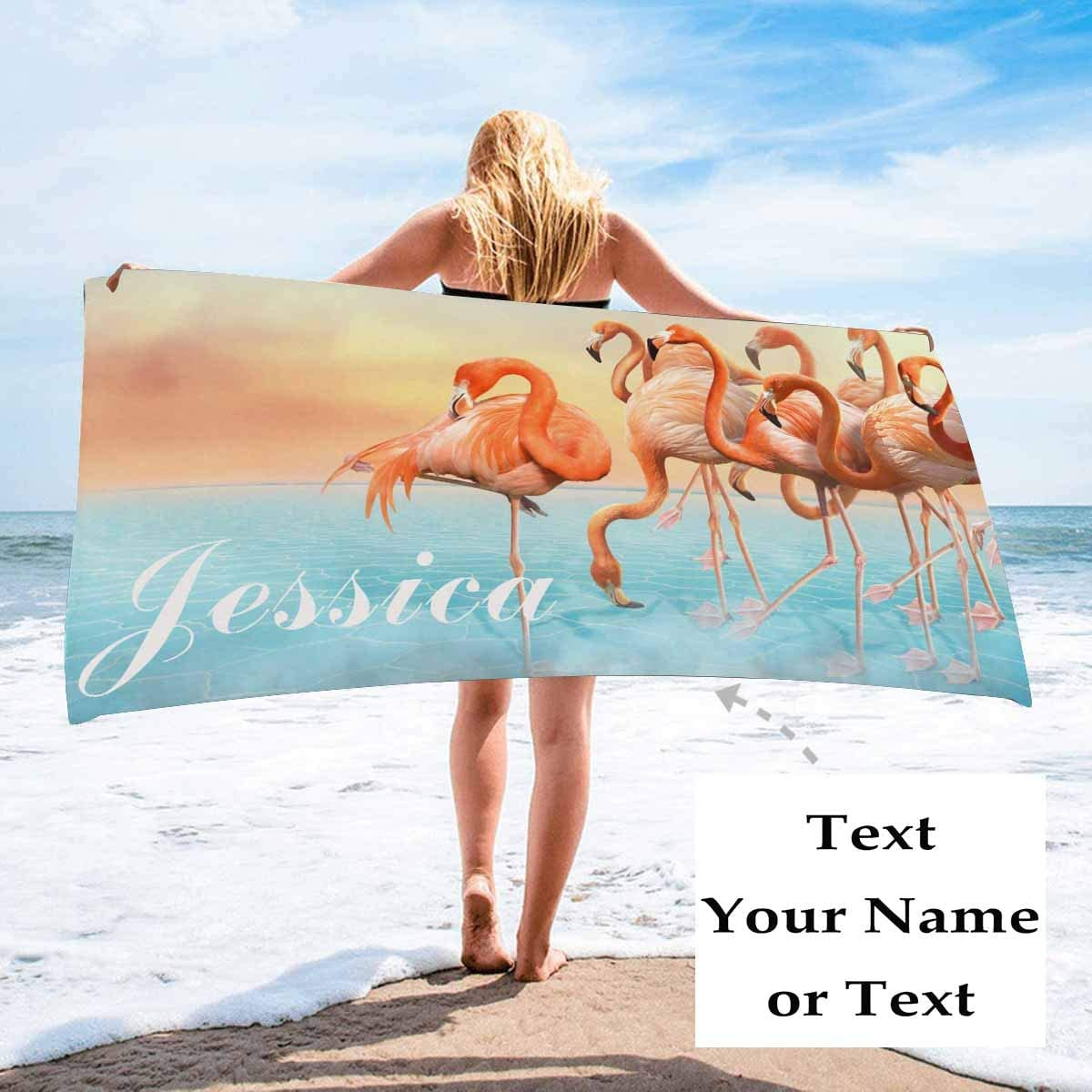 Photo Name Personalized Microfiber Tropical Pink Flamingo Beach Towel Blanket - Custom Body Towel