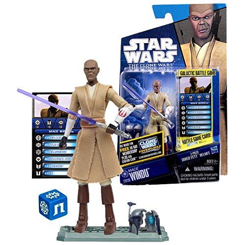 (Star Wars Year 2010 Galactic Battle Game The Clone Wars Series 4 Inch Tall Figure - MACE WINDU CW20 with Lightsaber, Jango's Broken Helmet, Battle Game Card, Die and Display)