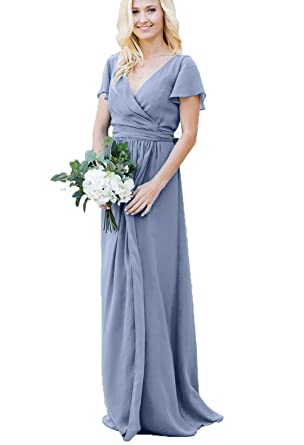 a5cc6762eff18 Women's Modest Wedding Bridesmaid Dresses with Sleeves Long Maxi Chiffon  Wrap Formal Evening Gowns Dusty Blue