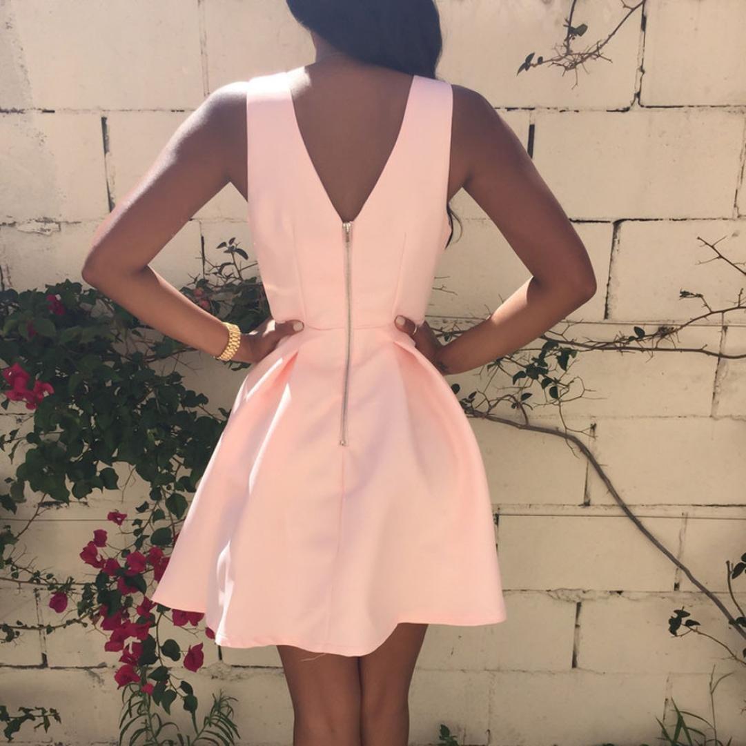 Yesmile 💋💝Vestido de Mujer Falda Negro Vestido Elegante de Noche para Boda Fista Vacaciones Vestido de Cóctel de Verano con Cuello en V Sin Mangas para ...