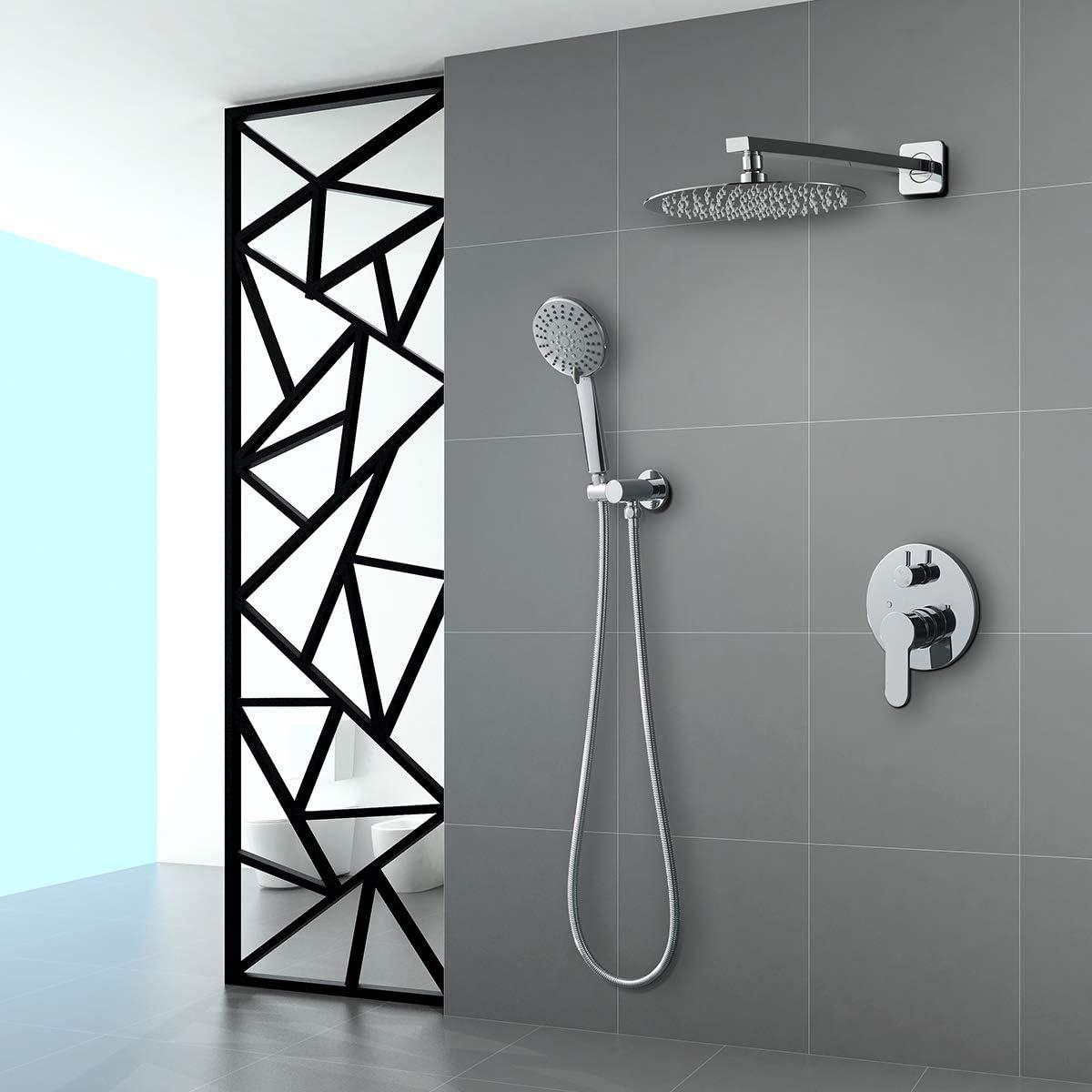 Rainfall Shower Head System with Handheld Shower Black ROVOGO ...
