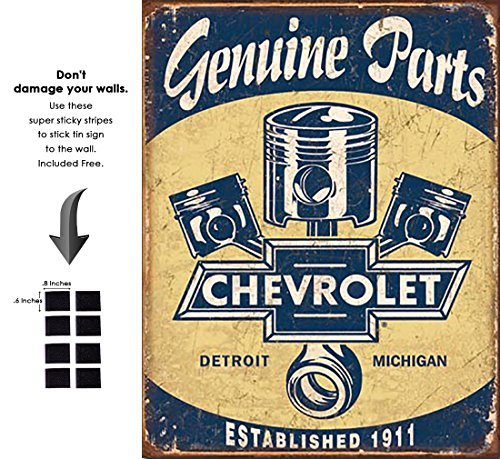 (Shop72 - Distrssed Tin Sign Chevy Parts - Pistons Metal Sign Poster Garage Sign - with Sticky Stripes No Damage to Walls)