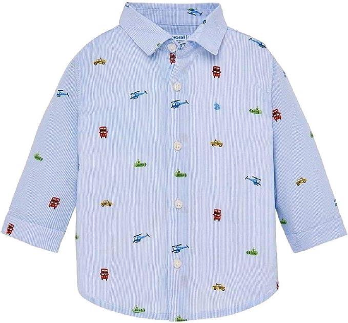 Mayoral festliches Jungen Oberhemd Langarm in hellblau mit kleinen Motiven