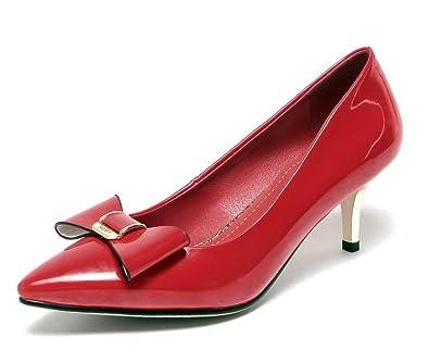 Damen Rund Zehe Mittler Absatz Mattglasbirne Rein Ziehen auf Pumps Schuhe, Grau, 34 VogueZone009