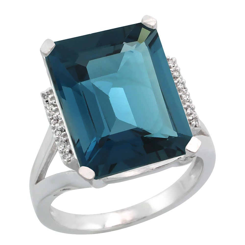 Sterling Silver Diamond Natural London Blue Topaz Ring Emerald-cut 16x12mm, 3/4 inch wide, size 9.5