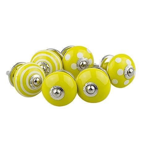 8 Stk Keramik Knöpfe Retro Schublade Ziehgriff Kleiderschrank Kommode Gelb