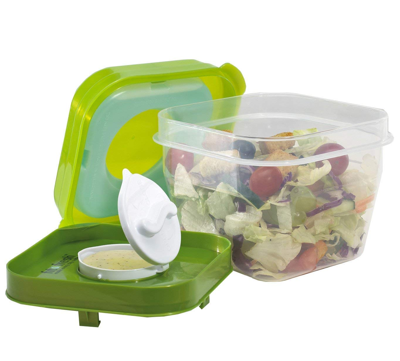 Fit & Fresh Salad Shaker Reusable Plastic Container with Dressing Dispenser and Ice Pack, Healthy Lunch Box Set, 4-Cup Capacity, BPA-Free Fit and Fresh 210FF