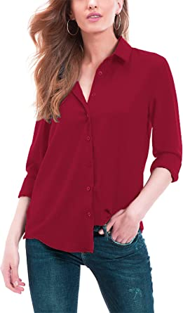 Cantonwalker Women S Long Sleeve Shirt Loose Casual Professional Button Blouse For Women 5005 At Amazon Women S Clothing Store