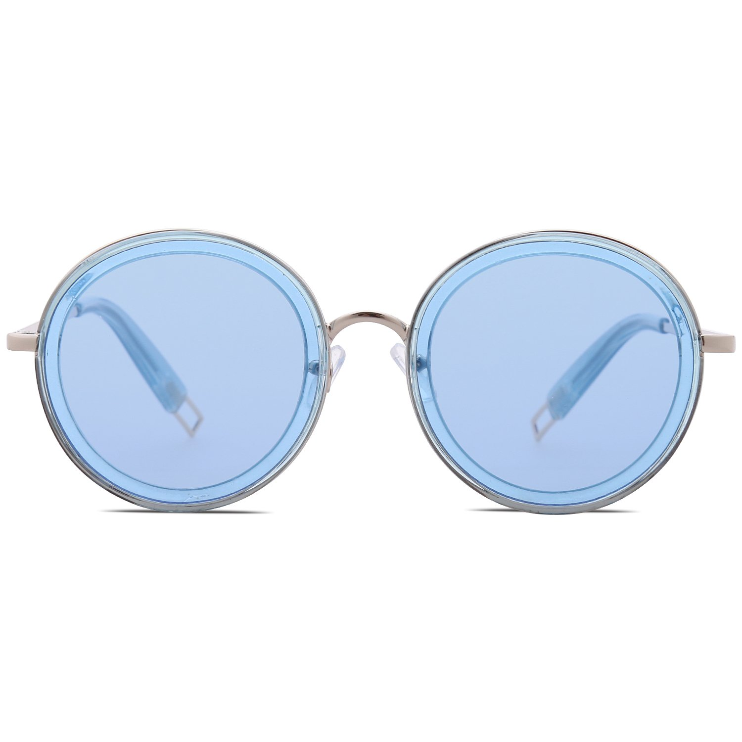SOJOS Oversized Round Metal Frame Sunglasses Flat Lens UV400 Protection SJ1076 with Blue Frame/Clear Blue Lens by SOJOS