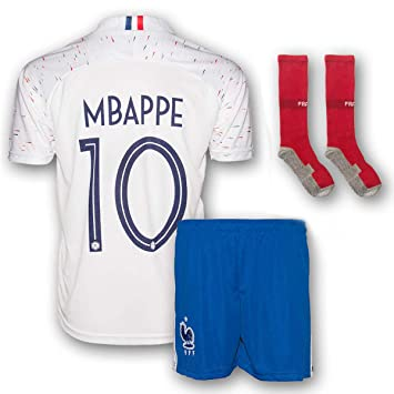 separation shoes 3070d a7e06 Mbappe Jersey France Away 10 Soccer Jersey & Shorts - Youth ...