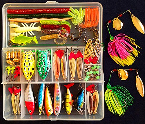Fishing Lures Kits Tackle Set,PortableFun Freshwater Bass Bait,Topwater Frog Lures,Including Crankbaits,Spinnerbaits,Spoon Lures,Tackle Box etc