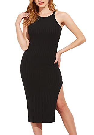 1faf604eeb SheIn Women's Sexy Solid Sleeveless Side Slit Bodycon Dress X-Small Black