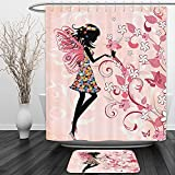 Vipsung Shower Curtain And Ground MatGirls Fairy Decor Pink Butterflies and Flowers Beautiful Glamour Girl with Colorful Floral Dress Angel Wings Fae Queen Feminine Nursery Black Baby Pink WhiteShower