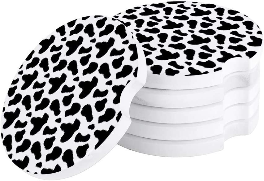 Black and White Absorbent Car Coasters for Cup Holders Set of 2 Cow Skin Printed Patterns 2.56inch Ceramic Stone Drink Coaster Car Accessories for Women Men