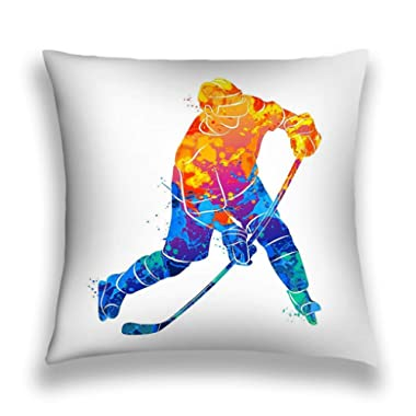 Tyuyui Pillow Cases Abstract Hockey Player Splash Watercolors Winter Sport Vector Illustration Paints Hockey Player Illustration ().jpg Grey tempurpedic