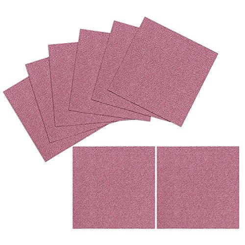 TRILUC, 12 x 12 Place and Stick Carpet Tile Squares. Strong Self Adhesive Floor Tile That Stick Even After You Wash Them - 8 Pc Set - Pink
