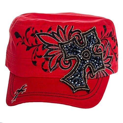 Crystal Case Womens Cotton Classic Rhinestone Cross Cadet Cap Hat (Coral)