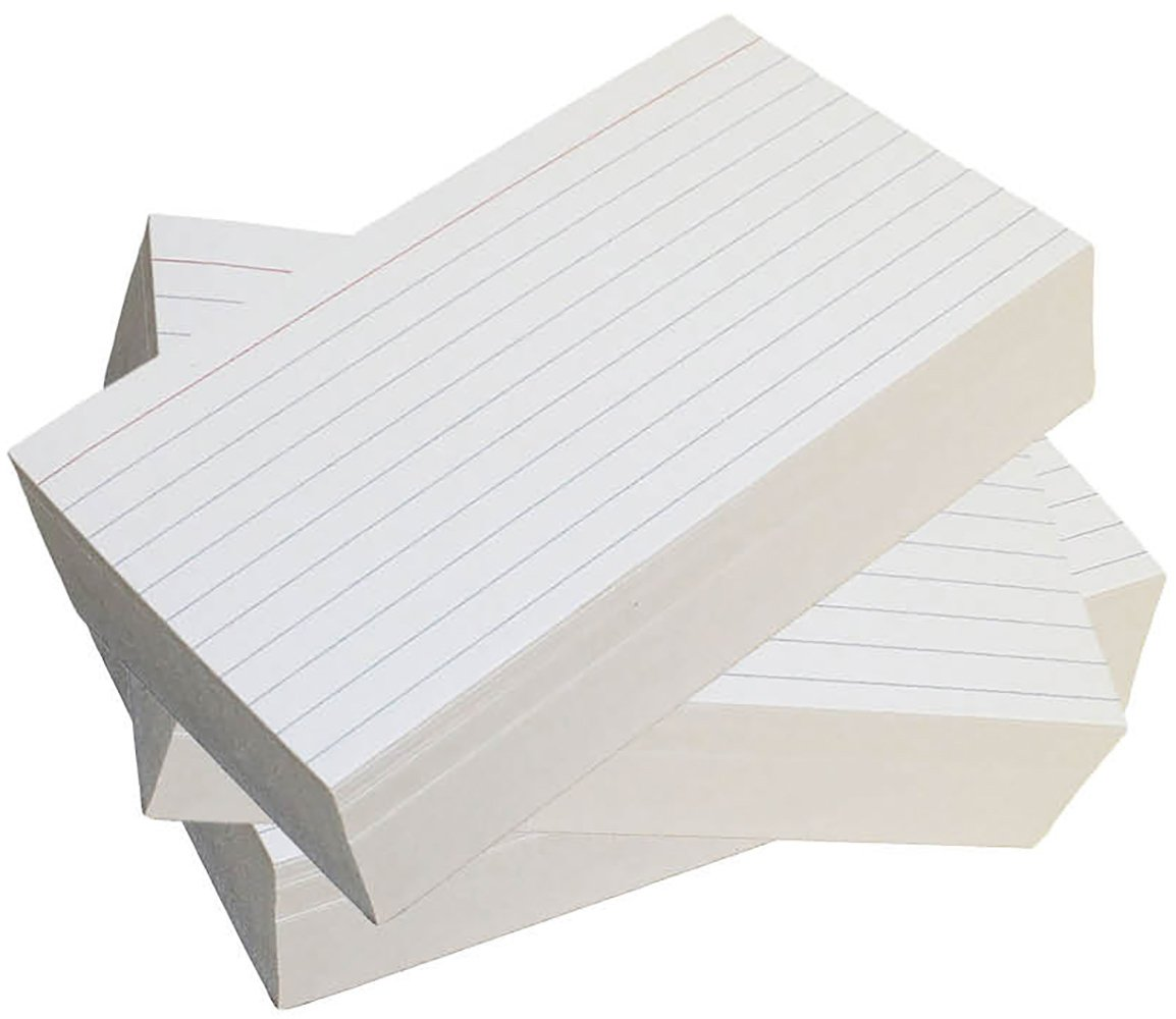 Debra Dale Designs - Ruled Index Cards - 5 x 8 Inches - White - 300 Cards - 3 Packages of 100 - Extra Heavy 140# Index Card Stock - 253 GSM - .0118 Thick (5x8)