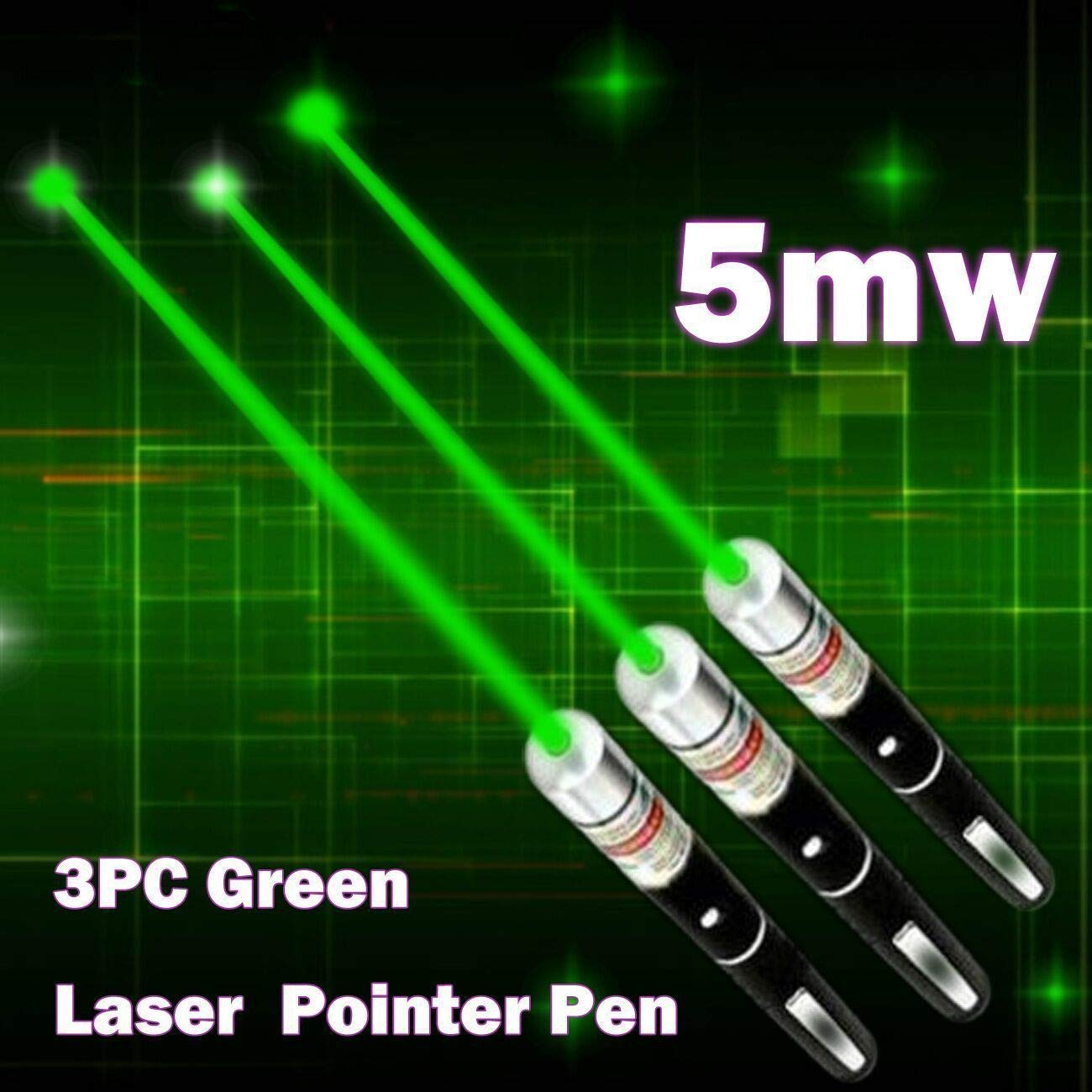 JING TAI 5 Miles 532nm Green Pointer Pen Mid-open Visible Beam Light Ray Office (3 Pack)